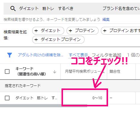 キーワードプランナーの検索ボリューム確認