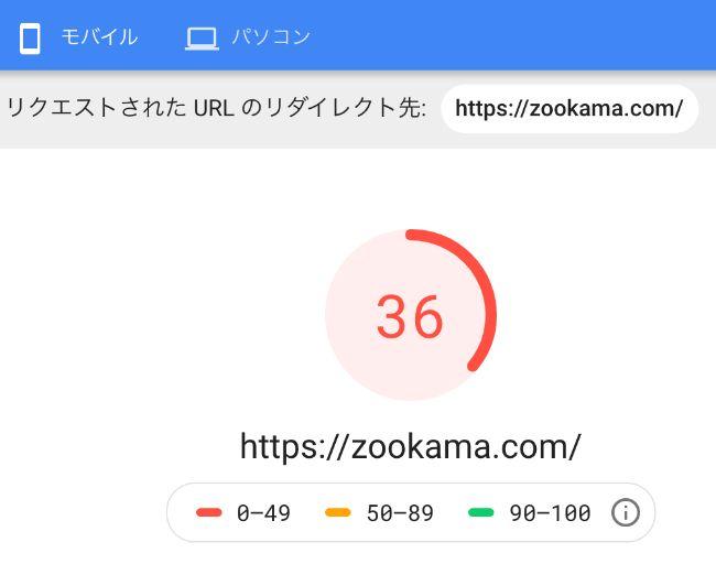 STORKのページ読み込みスコア検証結果(mobile)