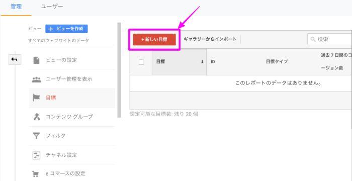 Googleアナリティクス目標編集画面から新しい目標をクリック